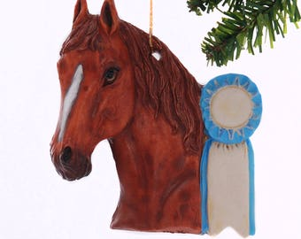 Personalized Christmas Ornament Sorrel Horse with Blue Ribbon - personalized free with your name and or year - handmade in the USA  (448)