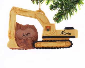 Personalized  Excavator  Christmas Ornament hand made in the USA Personalized Free Track Hoe Christmas Ornament - Construction Equipment
