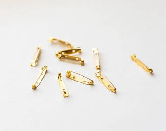 100 Brooch Back Bar Pins - WHOLESALE -  Gold Plated  - 30x5mm - Ships IMMEDIATELY  from California - A564a