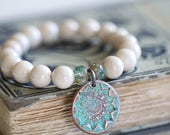 Creamy White River Rock Bracelet, 10mm,  Beaded Bracelet, Czech Glass Beads, Flower Charm, Copper Charm, Stretch Bracelet, by Dezine