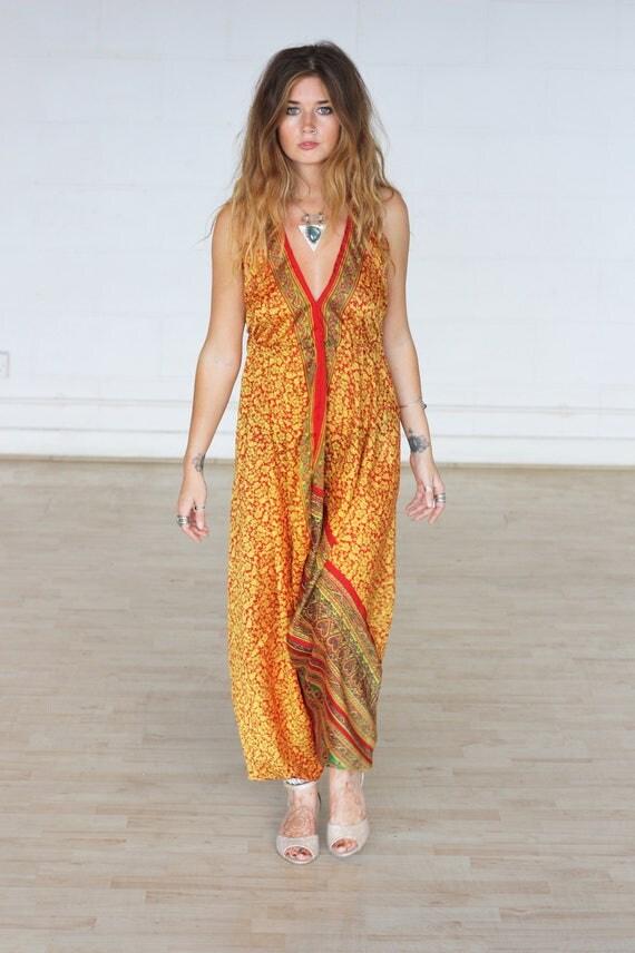 RUBY SPARROW JUMPSUIT -Limited Edition Silk Jumpsuit-Handmade- Vintage Sari Jumpsuit-Festival- Hippie- Retro- Halterneck- 100% Silk- Couture