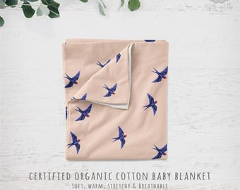 Organic Cotton Knit Baby Blanket - Swooping Swallows in Blue on Blush Pink, Whimsical Woodland Nursery | Ready to Ship