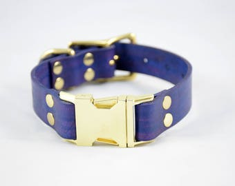 The Elessar QR Collar: Purple & Brass Quick Release Leather Dog Collar