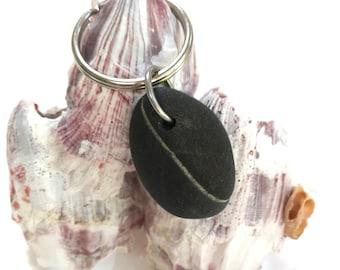 Maine Beach Stone Keychain, Sea Stone Key Chain, Maine Beach Stone, Beachcomber Gift, Beach Wedding Gift, Groomsmen / Bridal Gift, Favor