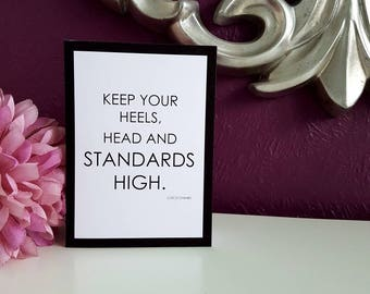 """Heels, Head and Standards - Coco Chanel 5x7"""" Blank Card"""