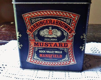 Barringer & Browns Mustard Tin from England, Prize Winning Dry Mustard from Rock Valley Mills Mansfield