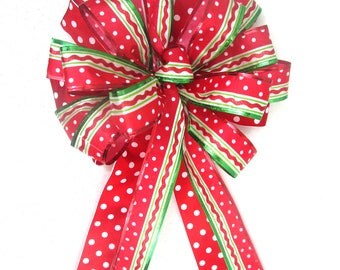Red and Green Bow / Christmas Tree Topper Bow / Christmas Bow / Tree Topper Bow / Wreath Bow / Tree Topper