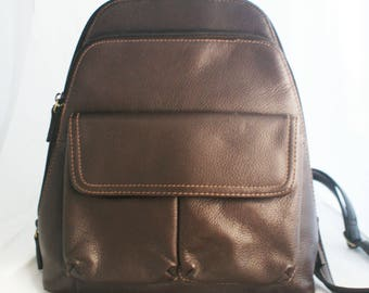 Backpack- Small Brown Leather Organizer with Top Handle and adjustable straps by Cherokee