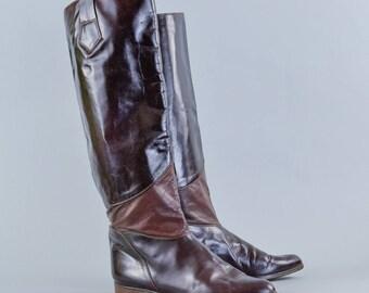 Vintage Women's Burgundy Leather Long Calf Boots Italian UK 6.5 EU 40 US 8.5