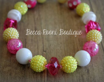 Pink and Yellow Bubblegum Necklace, Bubblegum Necklace, children's chunky necklace, children's bubblegum necklace