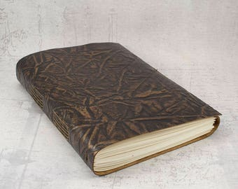 Dark brown bronze leather journal sketchbook, unique notebook A5, writing journal, travel journal