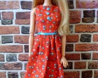 Red Vintage Floral Print Dress w/ Tie Belt for Barbie or similar fashion doll