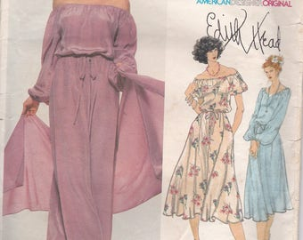 1970s Vogue American Designer Pattern - Edith Head 1895 Dress and Stole Size 14 Cut, Complete