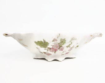 Antique Casserole NARCISSUS Shield ELP CO Hand Painted Raised Design Scalloped Edge Serving Dish Double Handled Footed Bowl