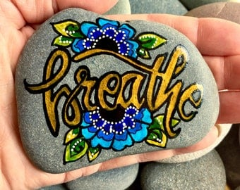 breathe / painted rocks / painted stones/ boho art / hippie art / art for altars / yoga / meditation/ art on rocks / relax / get well gifts