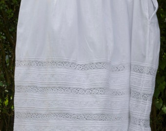 vintage cotton petticoat hand and machine sewn, with lace and embroidery detail,