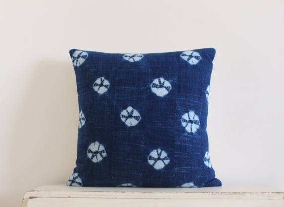 "Vintage indigo shibori African mudcloth pillow cushion cover 20"" x 20"""