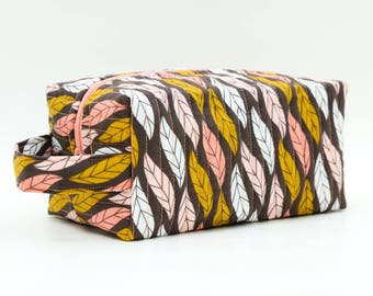 Whimsy Feathers Quilted Cosmetic Bag with Handle, Boxy Pouch; Boxy Bag; Make-Up Bag; Travel Bag; First Aid Kit; Shave Bag