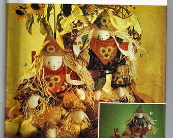 "21"" & 24"" Scarecrow Bunnies / Original Simplicty Crafts Uncut Sewing Pattern 8649"