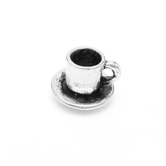 Coffee and Saucer Charm - Add a Charm to a Custom Charm Bracelets, Necklaces or Key Chains -  Nickel Free Charms