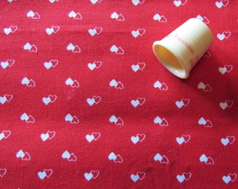 red and white heart print vintage cotton fabric -- 44 wide by 1/2 yard