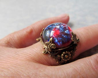 Dragons Breath Opal Ring Fire Opal Ring Opal Ring Gothic Ring Game of Thrones Jewelry Fantasy Jewelry Art Nouveau Ring Filigree Ring- Flame