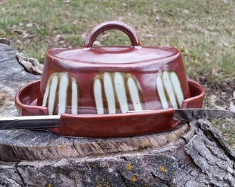 Butter Dish // Red with Stripes // Butter Dish with Knife Holder // Handmade Pottery // Aslakson Pottery