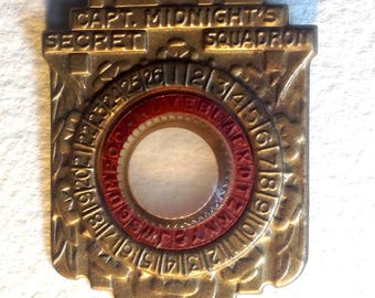 Vintage Captain Capt Midnight's Secret Squadron 1945 decoder pin badge