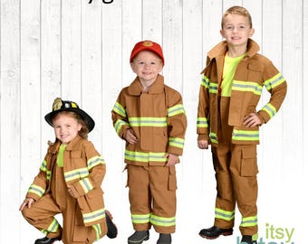 Halloween Costume Kids Firefighter Costume Personalized Fireman Outfit Halloween Costume Boys Firefighter Kids Dress Up Career Day Costume