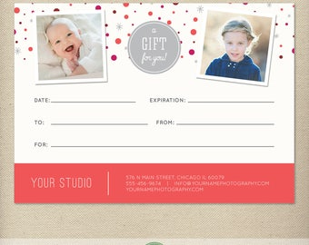 5x7 Digital or Print Gift Certificate, Gift Card, Photography Gift, One-Side, Single-Side, Christmas, Holiday - TEMPLATE - GC1