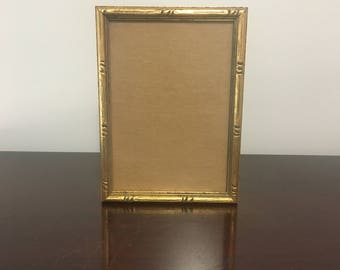 "5"" x 7"" Faux Bamboo Gold Picture Frame Chinoiserie Art Hollywood Regency"