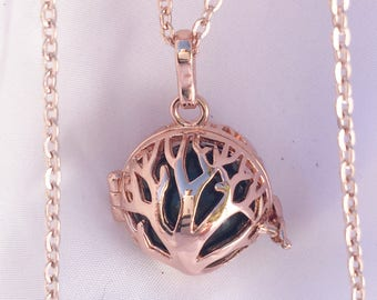 Harmony Ball Necklace,Bola Ball,Rose Gold Locket Necklace,Tree of Life,Chime Locket,Tree Jewelry,Personal Musical Memory,Baby Shower Gift
