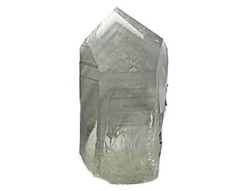 Quartz with Gray Chlorite Chevron Phantom Inclusions, Rock Crystal Point Specimen  Rockhound Gemstone Mineral Geo Collection, California Gem