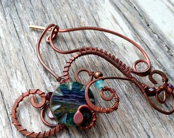 Green Shawl pin, Rustic Copper sweater pin or scarf pin in swirly design with rustic glass, copper brooch