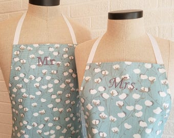 Cotton Print Apron Set - Mr and Mrs, Husband and Wife, 2nd Second Anniversary, Wedding Shower Gift Idea