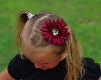 Zebra Daisy Style Flower Headband - Newborn Baby Infant Toddler Little Girls Hair Bow - Accessories - One Dollar Bow Sale - Hot Pink Black