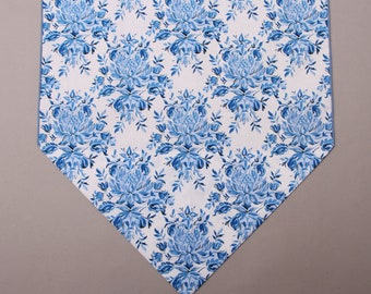 "Blue and White Table Runner, Small 36"" or Large 72"" Table Runner, Blue Table Decor, Blue and White, Blue Flowers, White, Blue, Blue Floral"