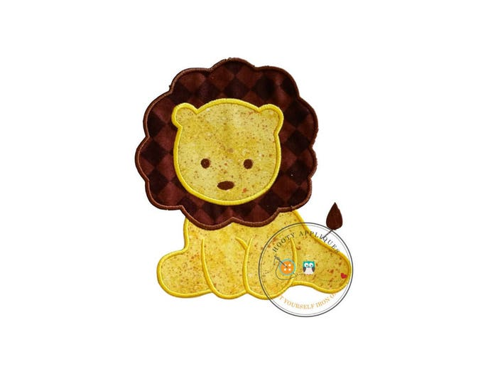 Sweet baby lion iron on applique, brown and yellow lion machine embroidered no sew patch for kids clothing, jackets, ready to ship