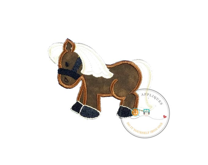 Little brown pony fabric iron on applique, Cute brown embroidered horse applique, Farm animal iron on patch, ready to ship