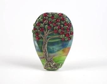 NZ Native PohutukawaTree Lampwork Glass Focal Bead