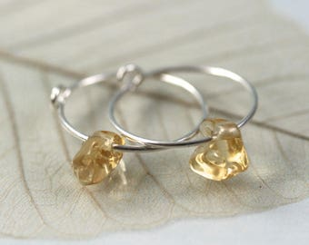 Silver Gem Hoops - Sterling Sleeper Earrings Adorned with Organic Citrine Beads