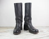 Vintage Size 9, Frye Black Square Toe, Riding Boots, Womens