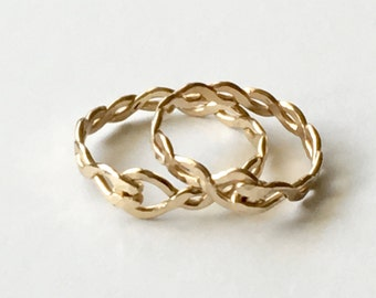 Hammered Braided Gold Filled Ring -  Gold Ring - Stacking Rings - Twisted  Gold Ring