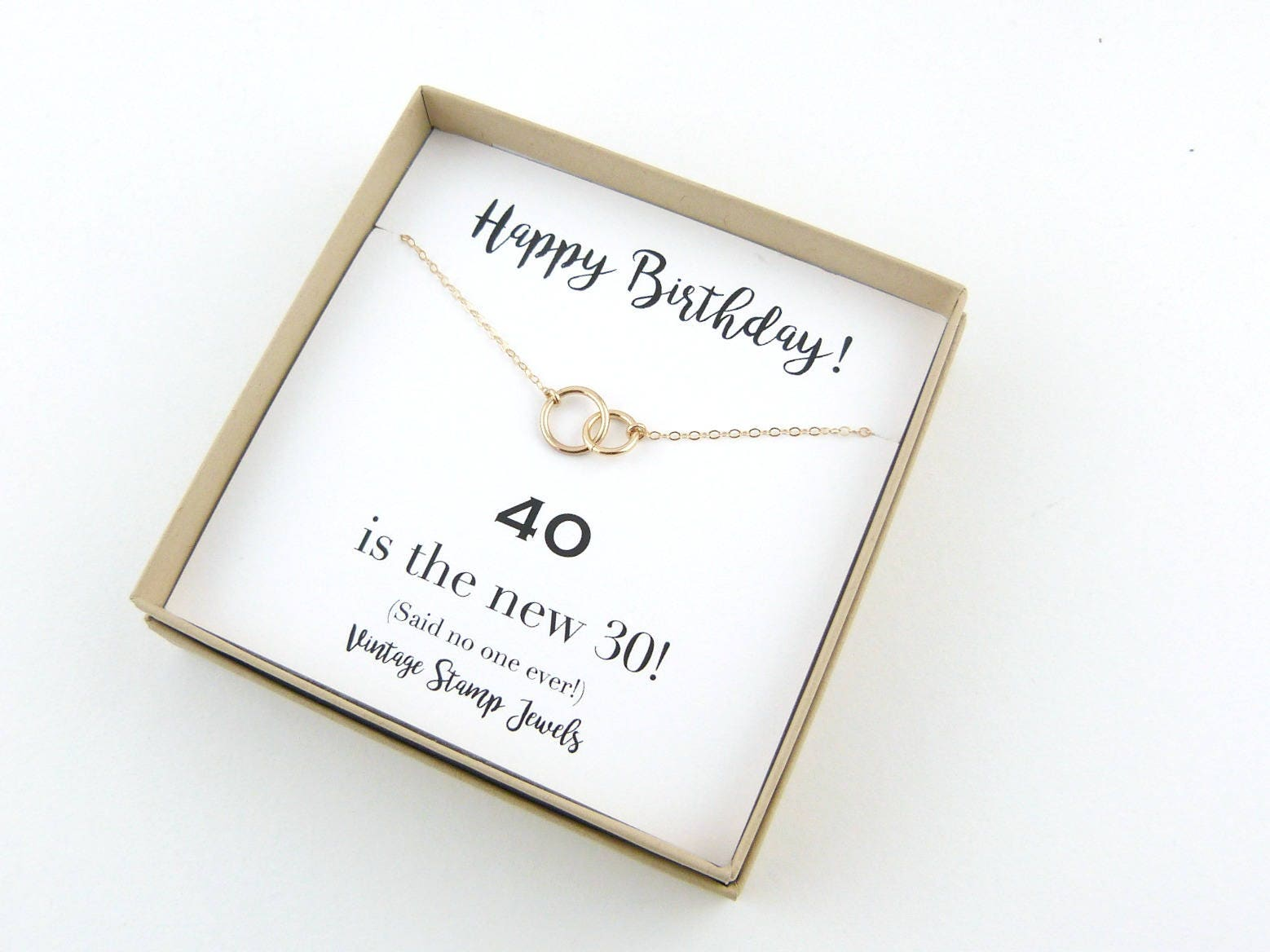 Eternity Necklace 40th Birthday Gift Gold Box Silver Circle