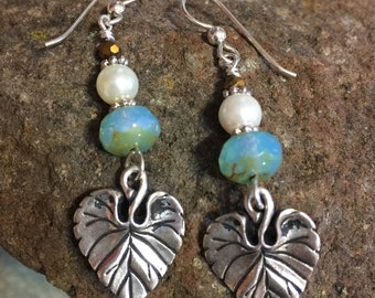 Drop Antique Silver Leaf Earrings with glass & pearl beads