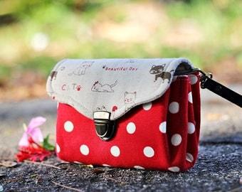 Wristlet clutch purse triple pockets, Phone holder, Passport holder