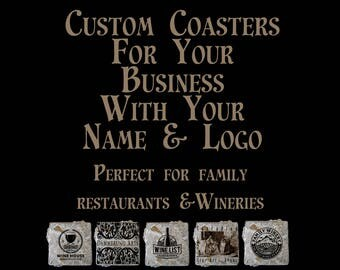 Custom coasters for your business! Designed with your business name and logo added to beautiful Travertine with a layer of real leaves.
