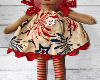 Patriotic 4th of July Ornament Sized Annie - Primitive Raggedy Ann Dolls (HAFAIR)