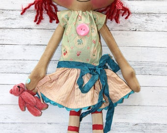 Sweet Lucy Anne with her Teddy - Primitive Raggedy Ann Doll