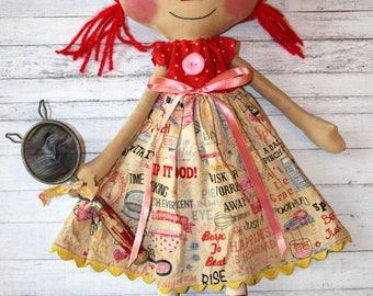 Sweet Baking Minnie Anne - Primitive Raggedy Ann Doll